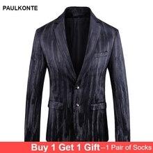 PAULKONTE Autumn Winter Black White Printing Mostly Male Blazer Suit Top High Quality Fashion Nightclub Slim Fit Mans Jacket