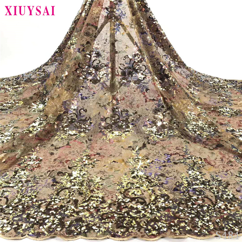 2020 Latest African Lace High Quality African French net Tulle Lace Fabric with Sequins embroidery For African Wedding S484