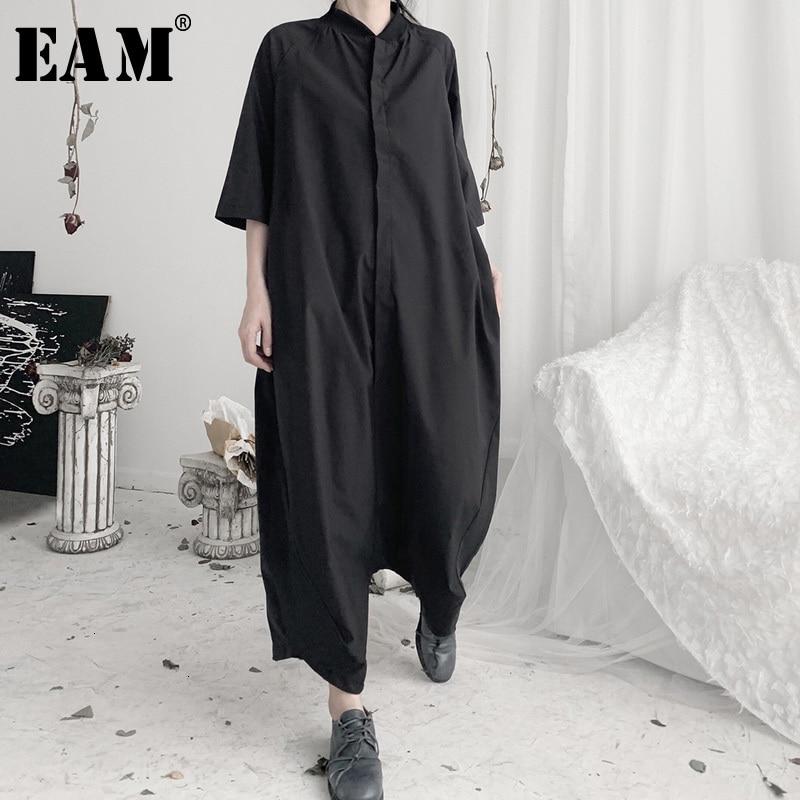 [EAM] Loose Fit Women Black Long Wide Leg Jumpsuit New High Waist Pocket Stitch  Pants Fashion Tide Spring Autumn 2020 19A-a632