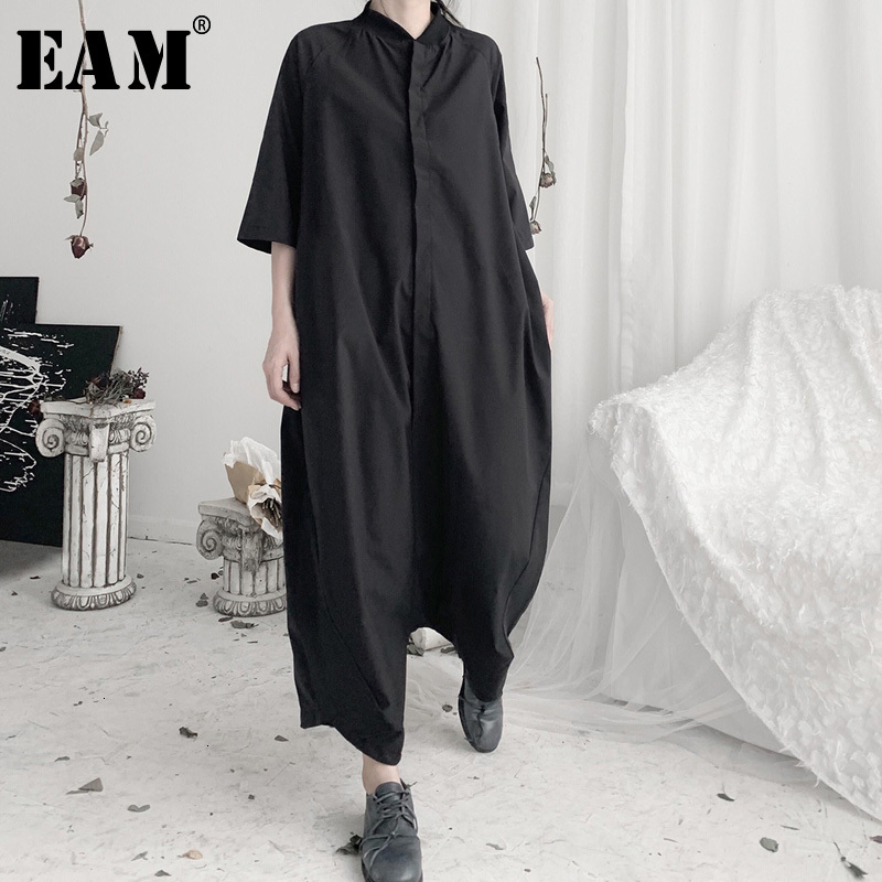 [EAM] Loose Fit Women Black Long Wide Leg Jumpsuit New High Waist Pocket Stitch Pants Fashion Tide Spring Autumn 2020 19A-a632