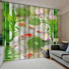 3D Window Curtain Foggy forest Luxury Blackout Living Room green bamboo louts fish curtains