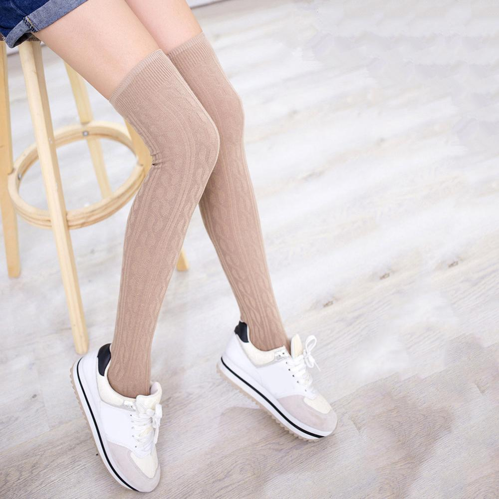 Braid Winter Stockings Over Knee Warm Thigh-Highs Knitted Hose Stockings