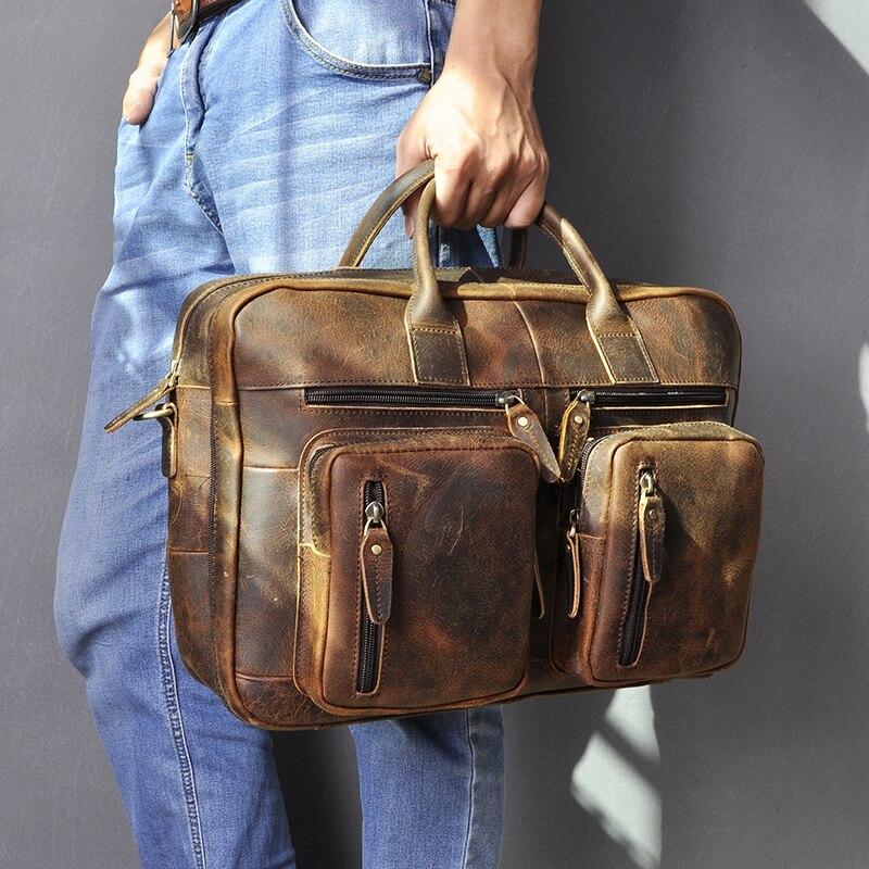 H2110d9a9ce854c9cbae25df4319a6757I Men Oil Waxy Leather Antique Design Business Travel Briefcase Laptop Bag Fashion Attache Messenger Bag Tote Portfolio Male k1013