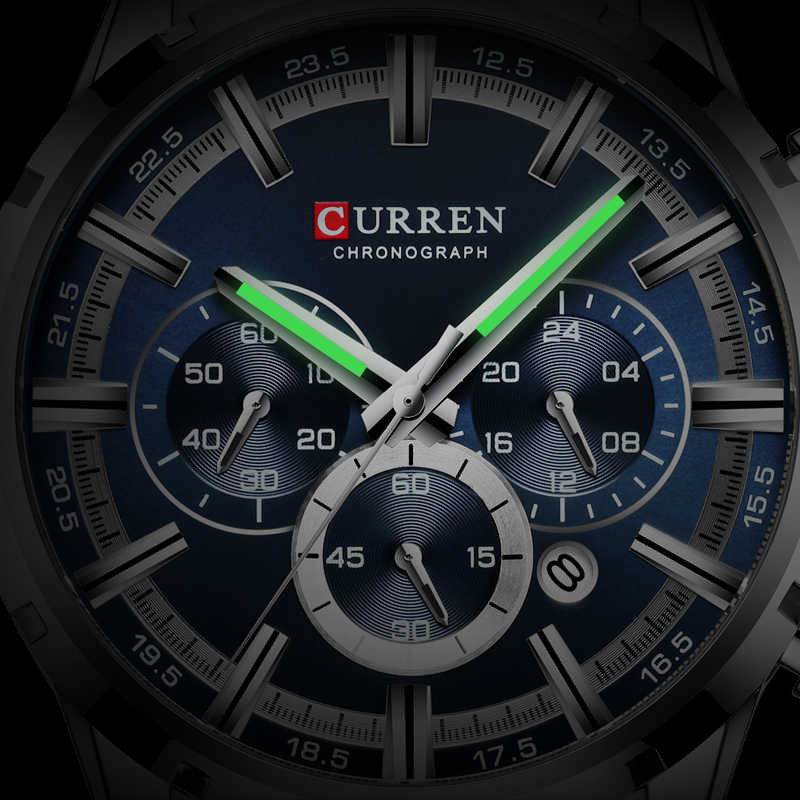 גברים של שעונים CURREN יוקרה מותג עסקי קוורץ שעון גברים עמיד למים הכרונוגרף תאריך זכר שעון זהב כחול Relogio Masculino