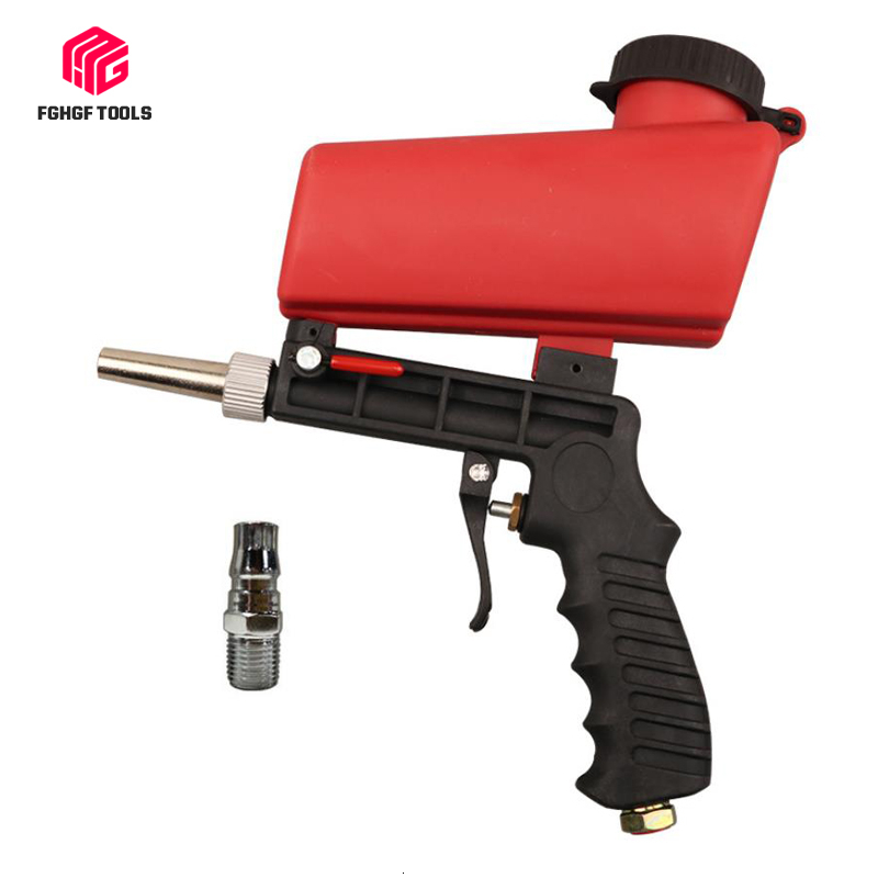 FGHGF Portable 90psi Gravity Sandblasting Gun Pneumatic Small Sand Blasting Machine Adjustable Pneumatic Sandblasting Set