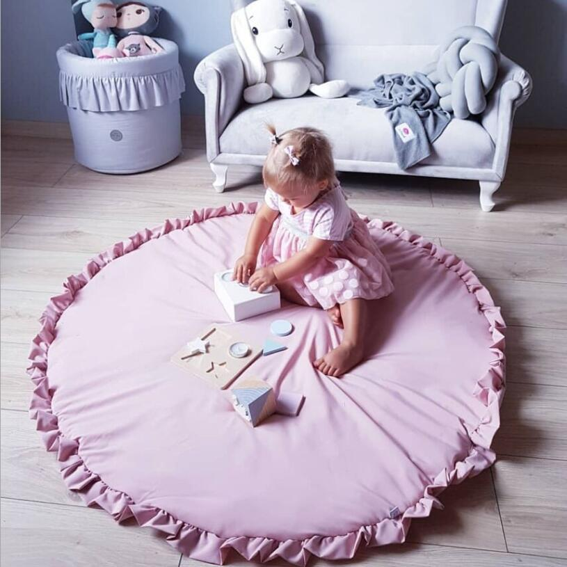 100 cm Soft Cotton Crawling Mat Newborn Baby Padded Play Mats Girls Game Rugs Round Floor Carpet For Kids Interior Room Decorati | Happy Baby Mama