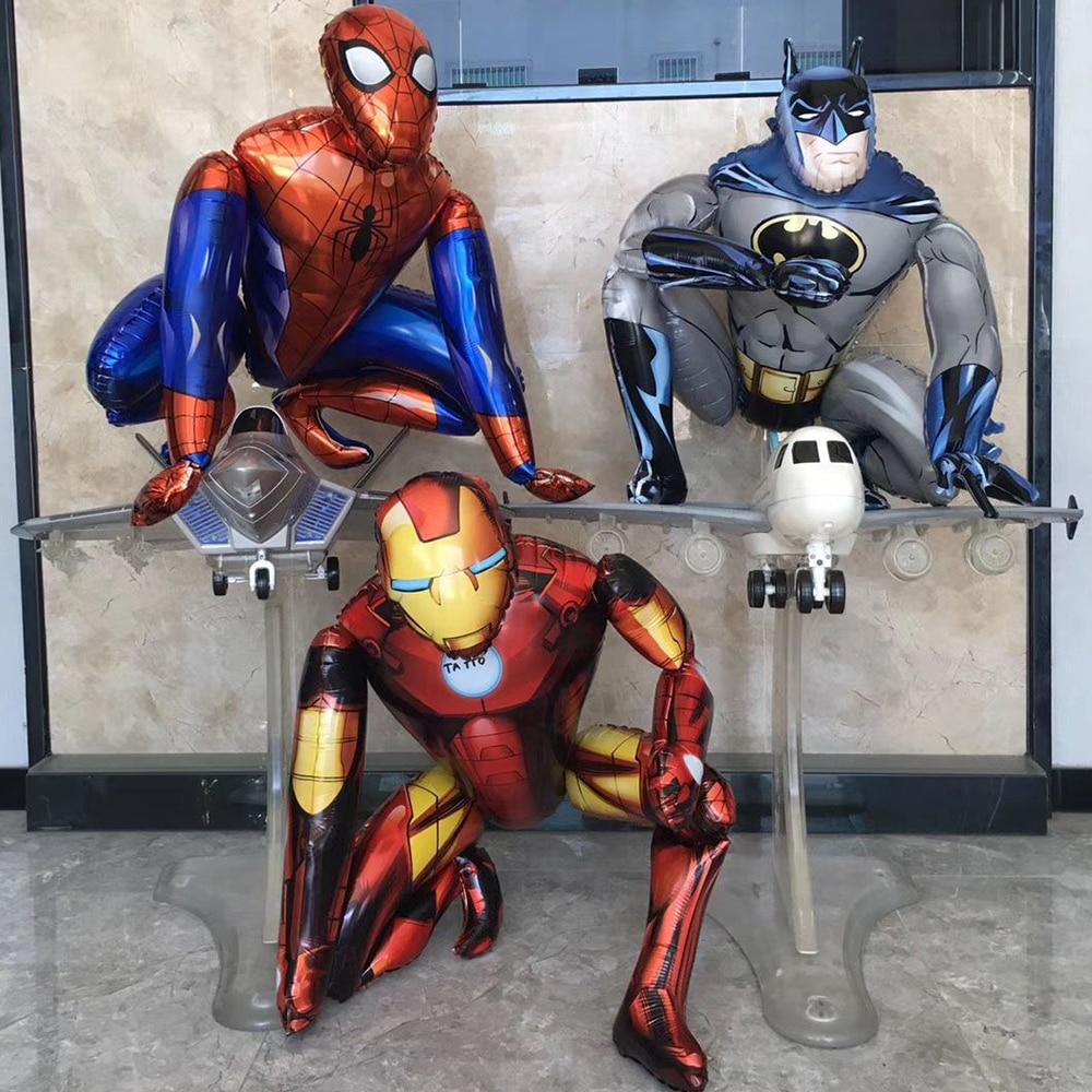 1set 3D Large Spiderman Iron Man Batman Foil Balloons Super Hero Birthday Party Decoration Supplies Children's Gifts Air Toys
