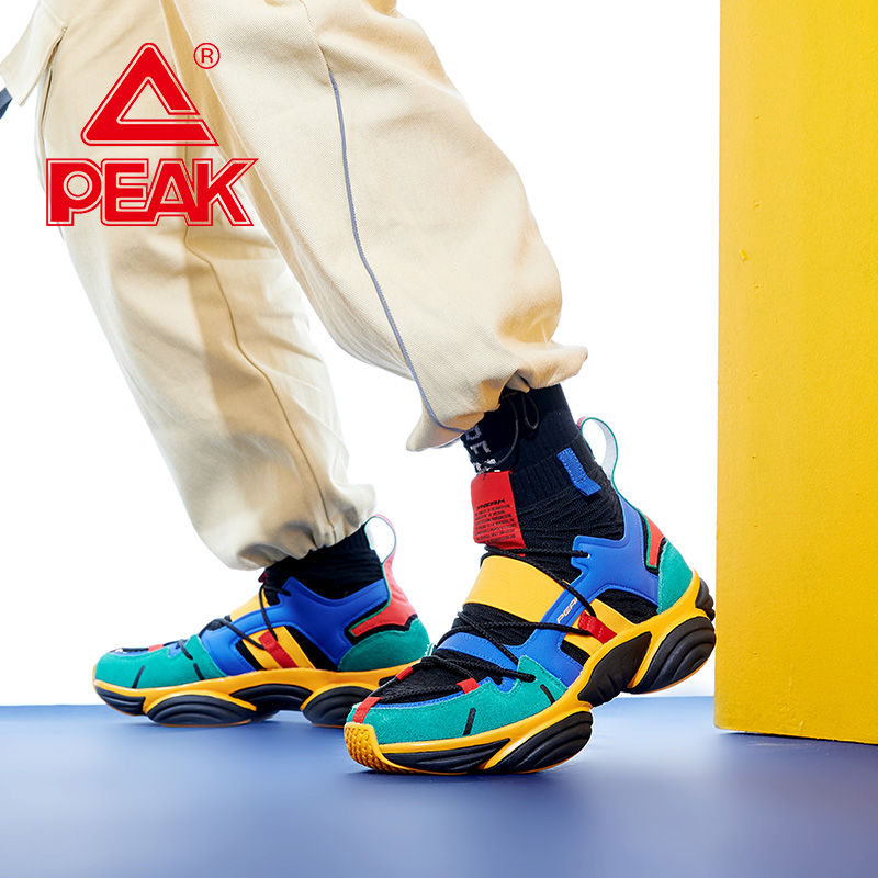 PEAK Men Basketball Culture Shoes Cushion Breathable Outdoor Youth Sneaker Fashion Colorful Cool Sports Casual Shoe