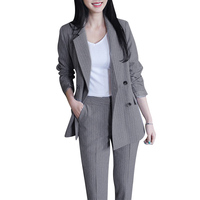 Women Blazer Pant Suit Set Notched Collar Double Breasted Blazer Jacket Trousers Suit Striped OL Coat Crop Trousers Casual 2PCS