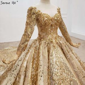 Image 5 - Altın lüks uzun kollu o boyun gelinlik 2020 Dubai boncuk Sequins High end gelin elbise HX0130 custom Made
