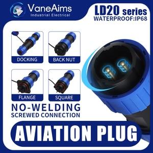LD20 2/3/4/5/6/7/8/9/10/11/12 штырьковый разъем 20 мм, цилиндрическая проволочная панель, авиационный соединитель, промышленная водонепроницаемая розет...