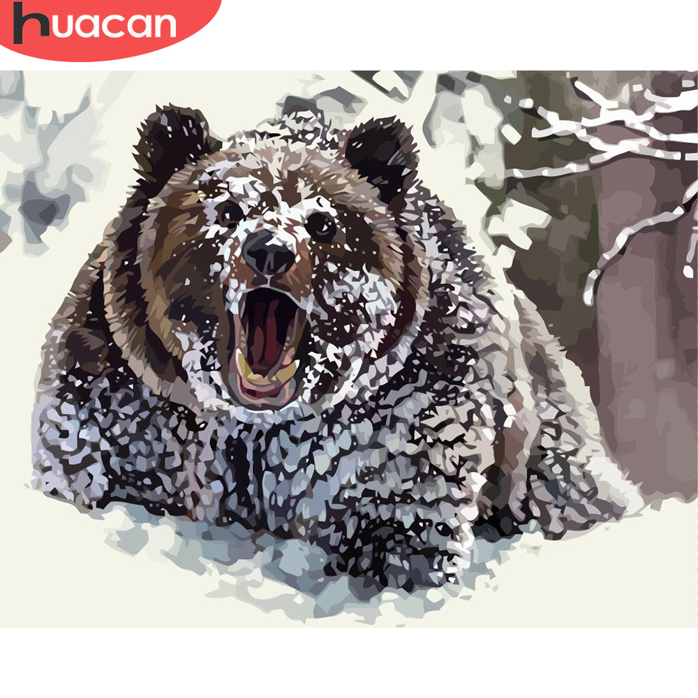 HUACAN Pictures By Numbers Bear Animals Oil Painting By Numbers Kits Drawing Canvas DIY Winter Hand Painted Home Decor