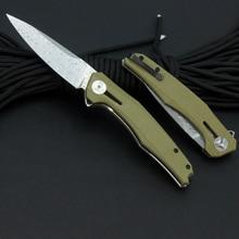 TUNAFIRE  2021 new Tactics folding knife Sweden Damasteel blade linen handle outdoor hiking EDC survival  tool, boutique knife