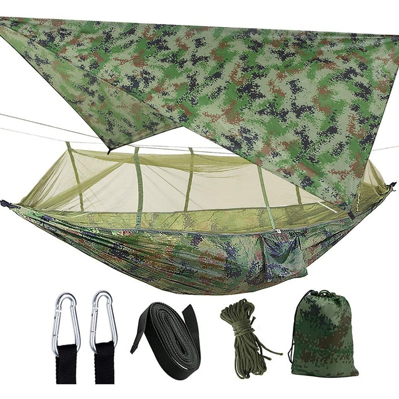Camping 2 Person Hammock With Mosquito Net Waterproof Lightweight Portable Gammock For Hiking Outdoor Travel Backyard