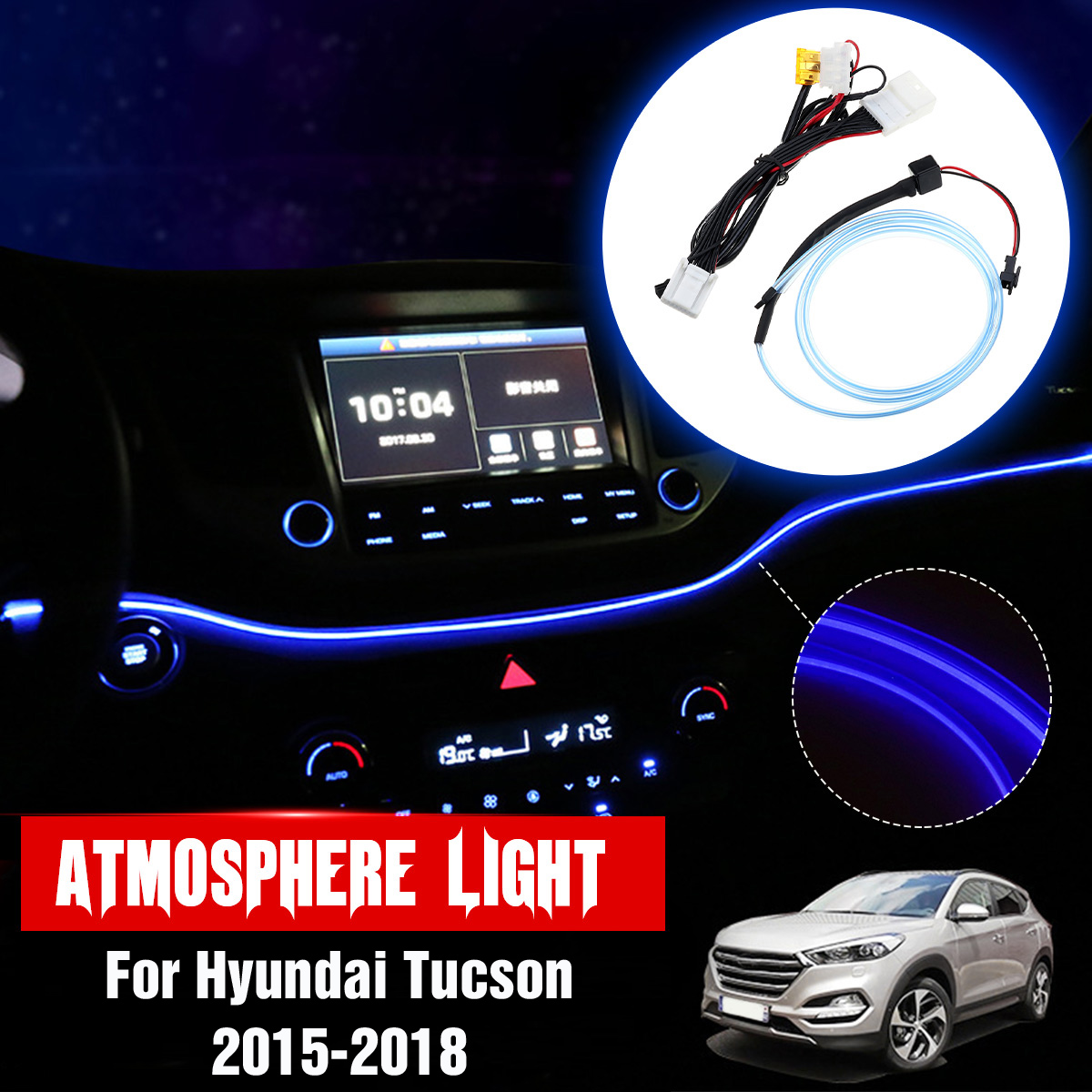Car Styling Carbon Style Auto Accessories Headlight Switch Buttons Frame Cover Trim for Hyundai Tucson 2016-2019 Left Hand Drive ONLY