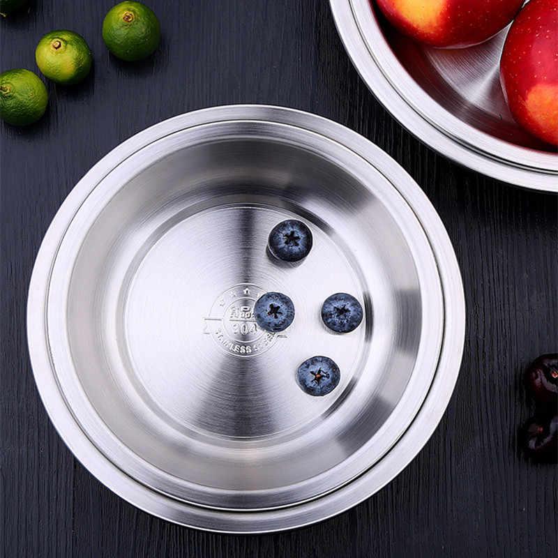 스테인레스 스틸 접시 라운드 접시 접시 세트 캠핑 야외 접시 주방 액세서리