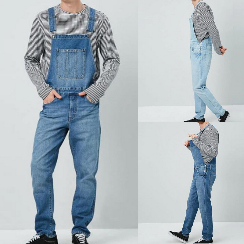 Men Denim Pant Overall One Piece Full Length Ripped Jeans Jumpsuits Men Slim Casual Jeans Overalls Pant Pantalon Homme