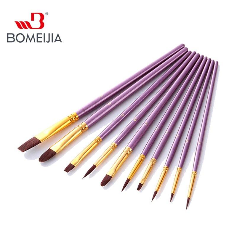 10Pcs Paint Brushes Set Nylon Hair Painting Brush Short Rod Oil Acrylic Gouache Brush Watercolor Pen Professional Art Supplies