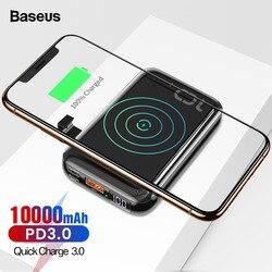 Baseus 10000 mah pd carga rápida 3.0 mini banco de potência portátil qi carregador sem fio powerbank para iphone 11 xiaomi bateria externa
