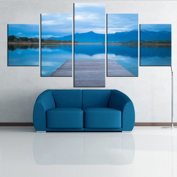 5 Pieces Panel Modern Canvas lake Painting Wall Art The Picture For Home Decoration print Giclee Artwork For Wall Decor