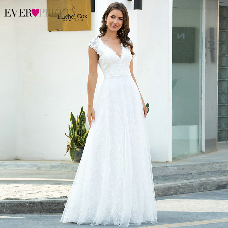 Elegant White Evening Dresses Ever Pretty A-Line V-Neck Cap Sleeve Ruched Tulle Elegant Formal Party Gowns Robe De Soiree 2020