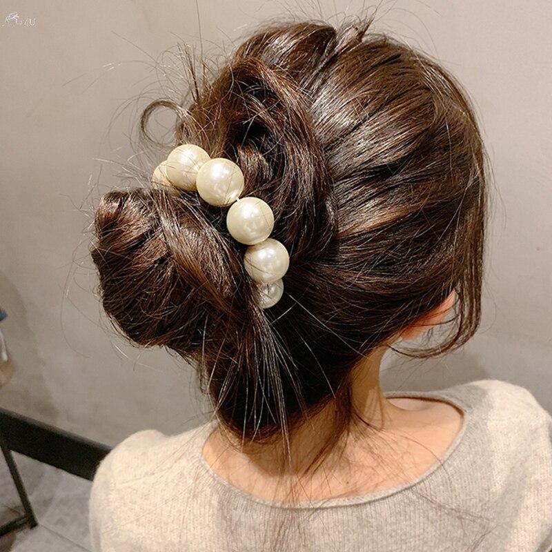 AOMU Woman Big Pearl Hair Ties Fashion Korean Style Hairband Scrunchies Girls Ponytail Holders Rubber Band Hair Accessories