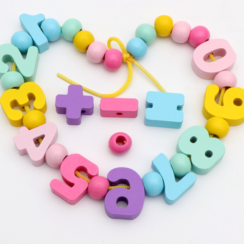 With Numbers Bead Toy ENLIGHTEN Early Education Threading Building Blocks Bead-stringing Toy Bead 33 Grain Beaded Bracelet Kinde