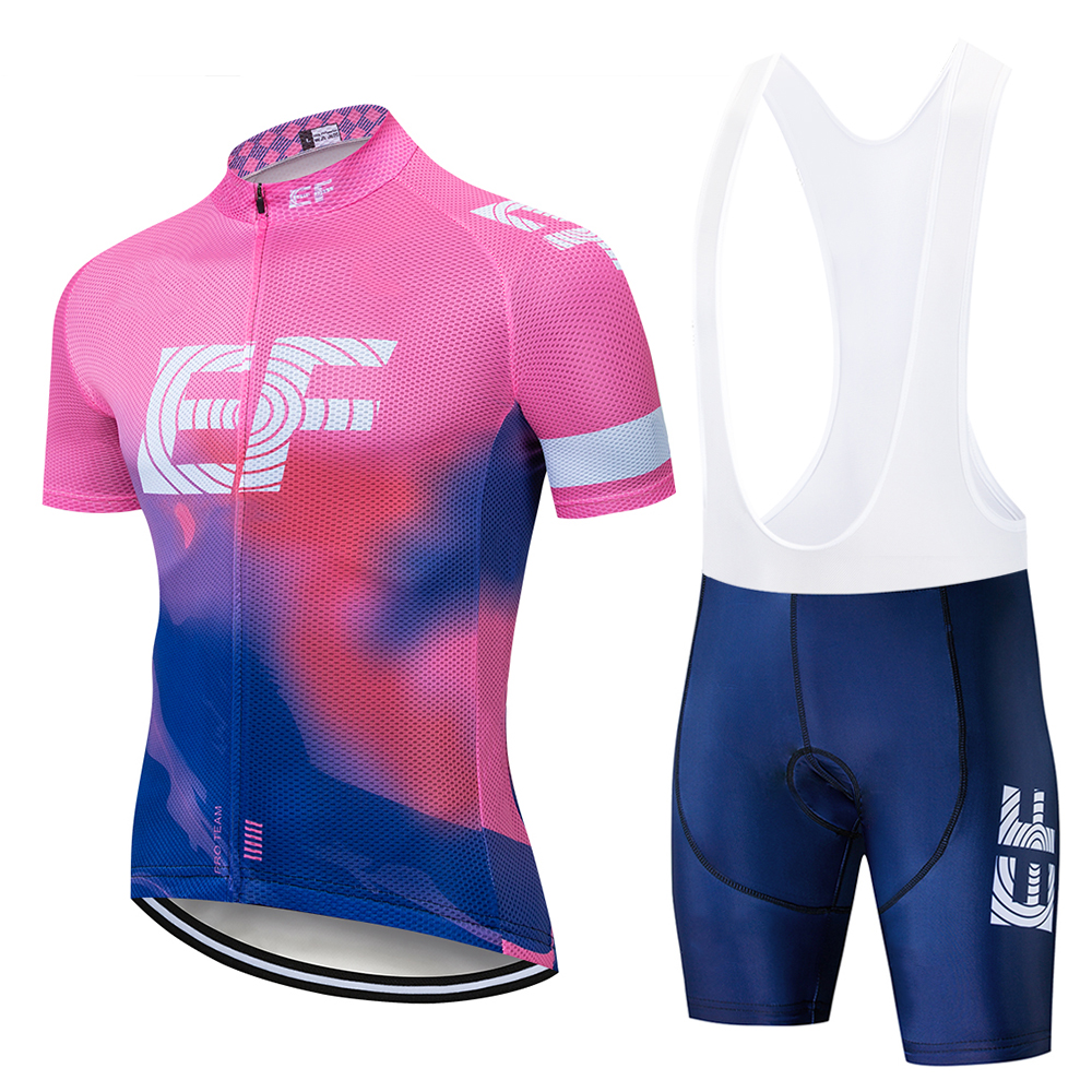 2019 Pink Pro Tour Team EF Cycling Jersey Bike Set Breathable MTB MTB Fast Dry Bike Ropa Ciclismo Gel Pad