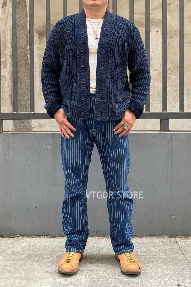 밥 동 빈티지 Workwear 로브 인디고 코튼 카디건 남자 v-넥 스웨터 블루