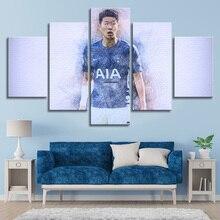 5 Pieces Canvas Art Soccer Stars Football Sports Posters Tottenham Heung-Min Son Posters Canvas Paintings Kids Room Decor Frame tottenham huddersfield
