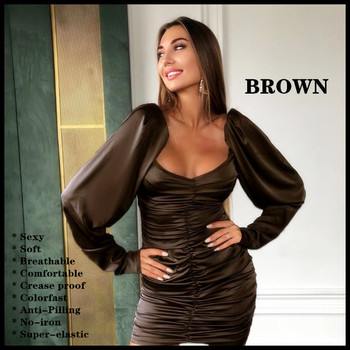 High-end women's sexy dress Silk-feeling Soft Breathable Comfortable Crease proof Colorfast Anti-Pilling No-iron Party Banquet 8