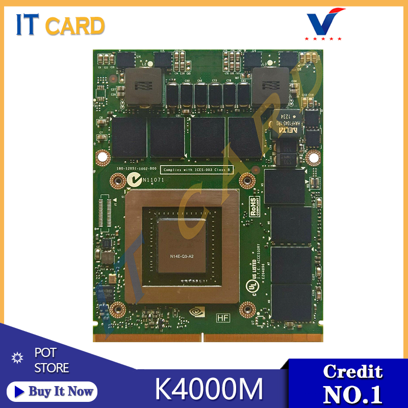 Dell Precision M6800 M6700 M6600 Nvidia Quadro K4000M 4GB N14E-Q3-A2 Video Card