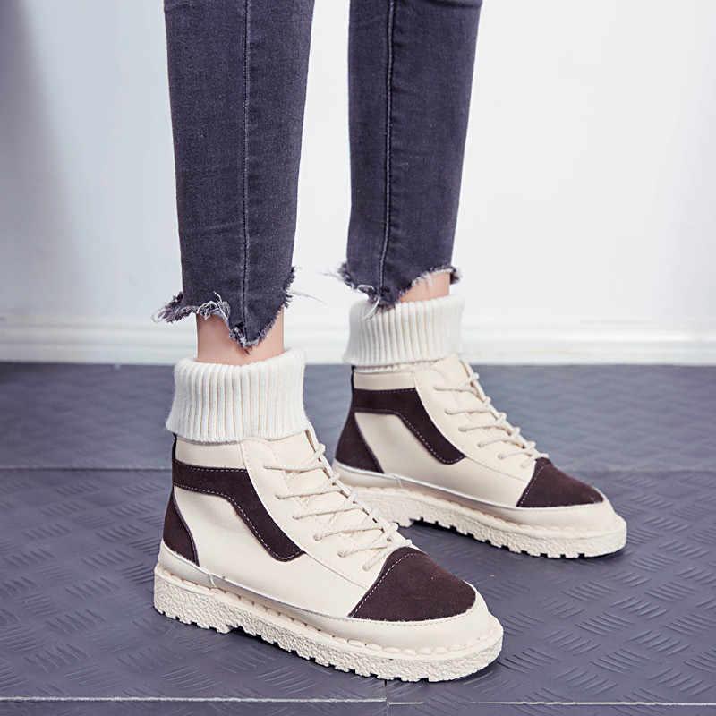 COOTELILI kadın çorap botları deri kışlık botlar yarım çizmeler kadınlar için rahat ayakkabılar kadın Botines çizmeler düşük topuklu