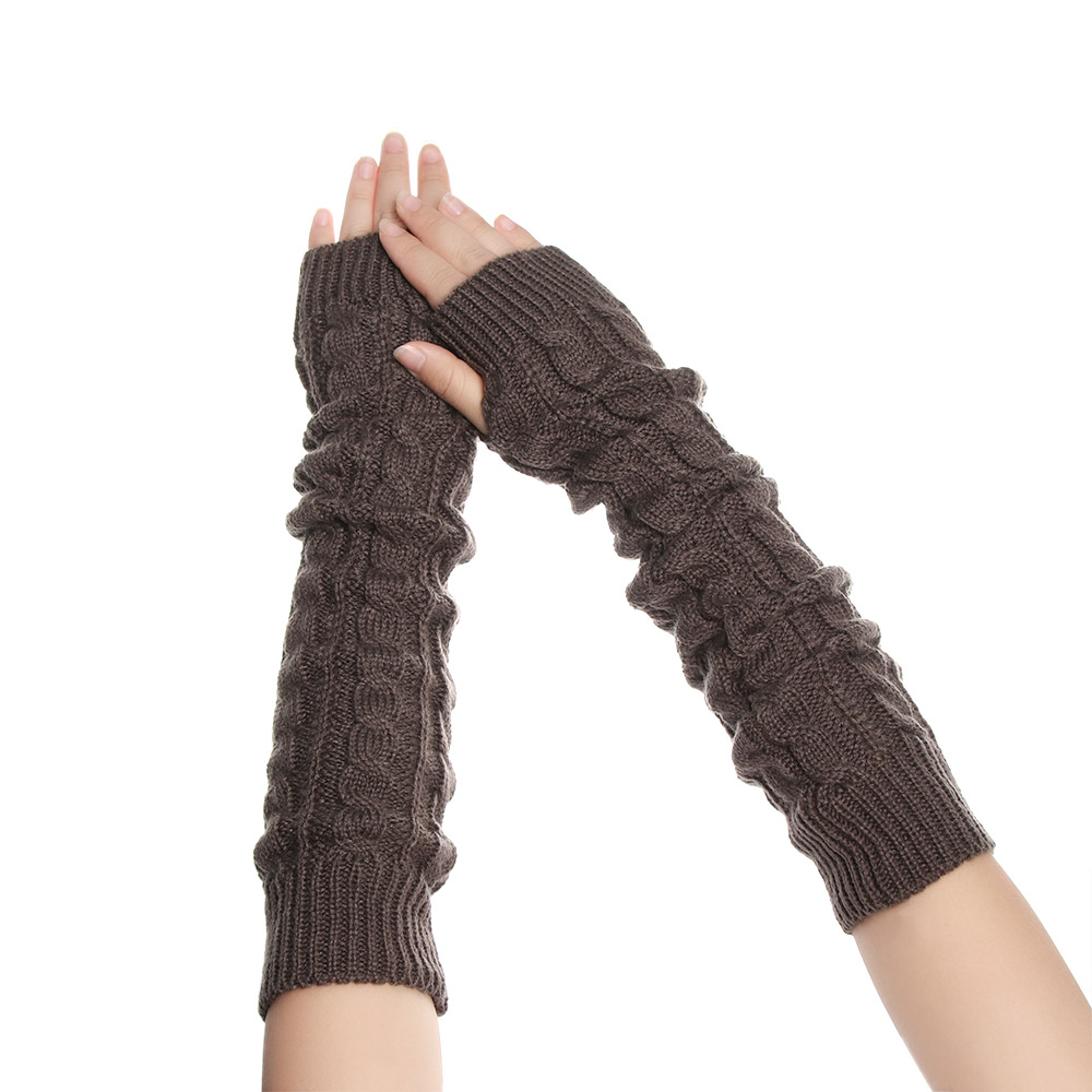 1Pair Length 50cm Tactical Gloves Winter Women Fashion Warmer Ladies Girl Arm Long Knitting Wool Fingerle Hemp Flower Mitten