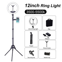 "12 ""Fotografie Selfie Ring Licht Met Stand Live Video Ring Lampe Webcast Youtube Video 3500-5500K Make-Up lampe(China)"