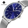 WWOOR часы мужские 2020 Роскошные брендовые простые тонкие кварцевые часы для мужчин синие стальные сетчатые повседневные водонепроницаемые н...