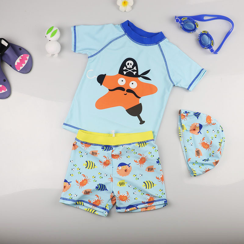 KID'S Swimwear South Korea Baby Boy Sun-resistant Sweat-wicking Swimming Trunks Split Type Three-piece Set Small Middle And Larg