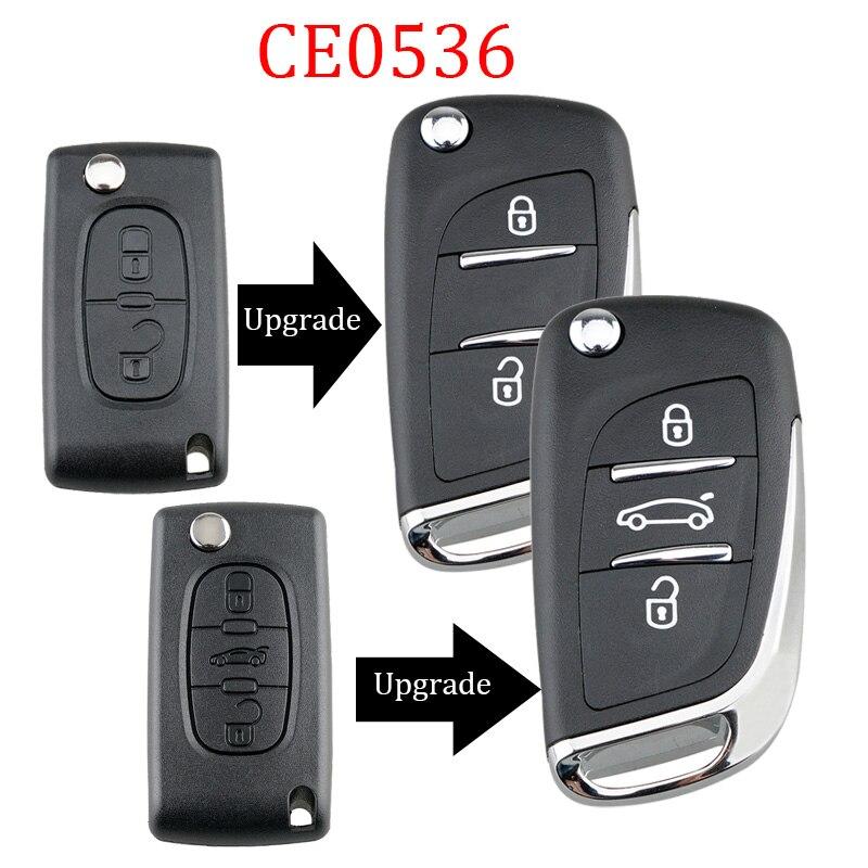 Модифицированный флип-кейс для ключей с дистанционным управлением, 3 кнопки для Peugeot 306 407 408 607 для Citroen C4 C2, Автомобильный ключ CE0536 VA2 Blade