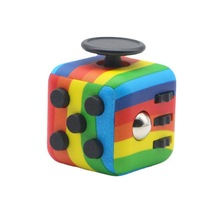 Personalized Dice Popular Rainbow Decompression Cube Children Educational Toy Adult Anti-stress Finger Exercise Color Dice
