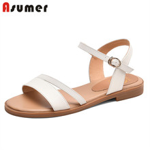 ASUMER women sandals 2020 newest genuine leather shoes buckl