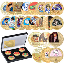 Full Set Japanese Anime Cartoon Gold Plated Commemorative Coin Set with Holder Challenge Coin Original Design Gift for Kids