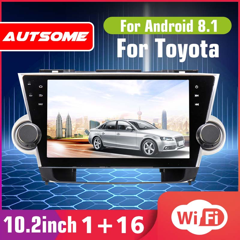 10.2 Android 6.0 Car Radio 1 Din Quad Core Stereo Receiver GPS Stereo Wifi bluetooth RDS Audio for Toyota Highlander 2009-2019 image