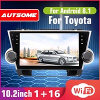 10.2 Android 6.0 Car Radio 1 Din Quad Core Stereo Receiver GPS Stereo Wifi bluetooth RDS Audio for Toyota Highlander 2009 2019