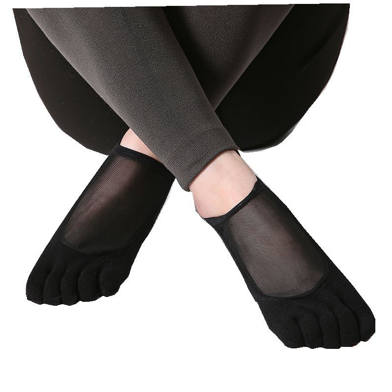 Free Shipping Silk Yarn Gauze Solid Color Yoga Socks Pilates Socks Anti-skid Sock Open Toe Five Fingers Yoga Socks 2019 New