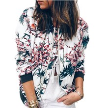 Women Coats Autumn Jackets  Womens Ladies Retro Floral Zippe