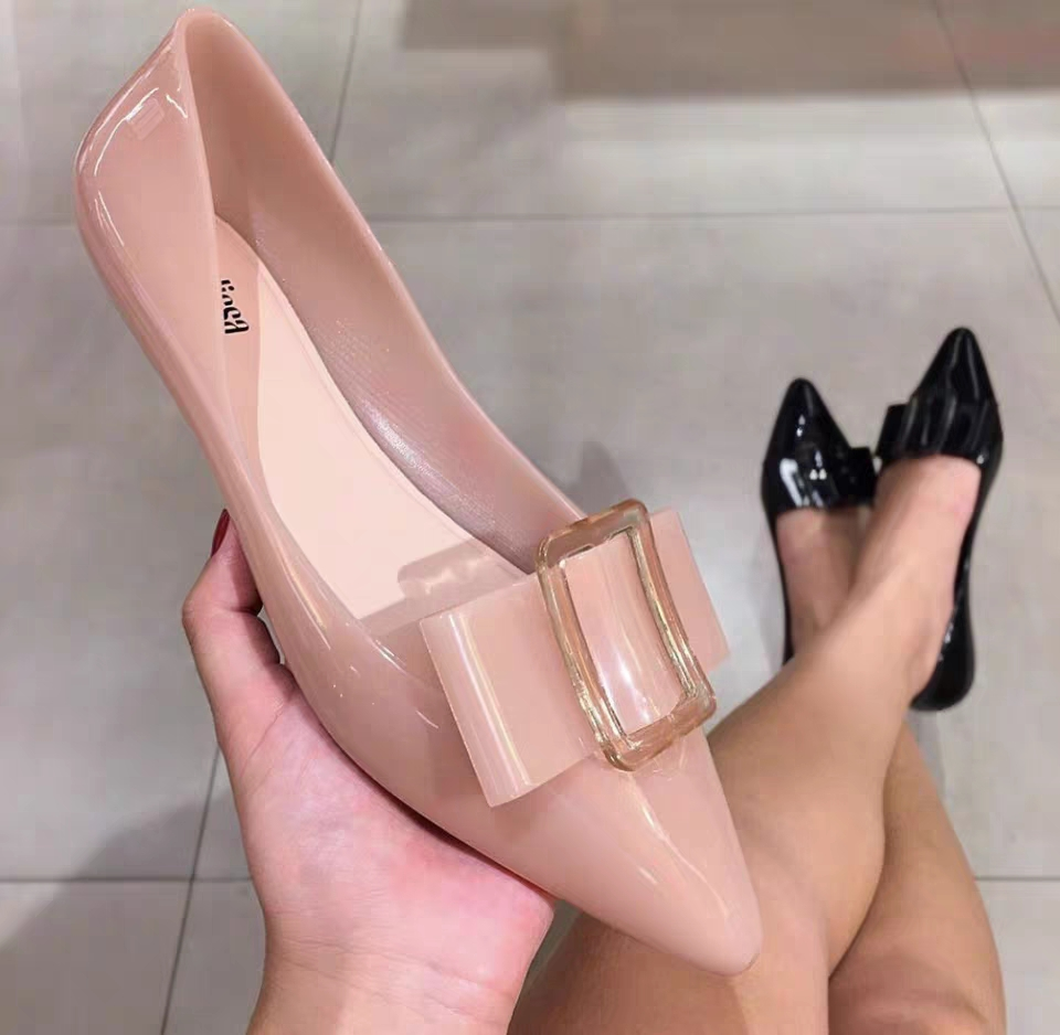Melissa Pointy Women Shoes With Bowtie 2020 New Women Flat Sandals Brand Women Jelly Shoes Melissa Sandals Female Jelly Shoes
