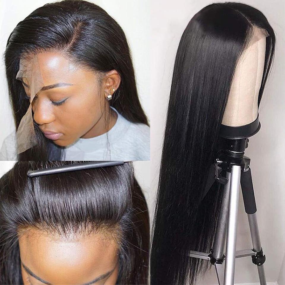 Parrucca lunga diritta 13X4 frontale in pizzo per capelli umani 30 32 pollici Pre pizzicato 13x4 parrucche con chiusura in pizzo per donne nere Remy brasiliano