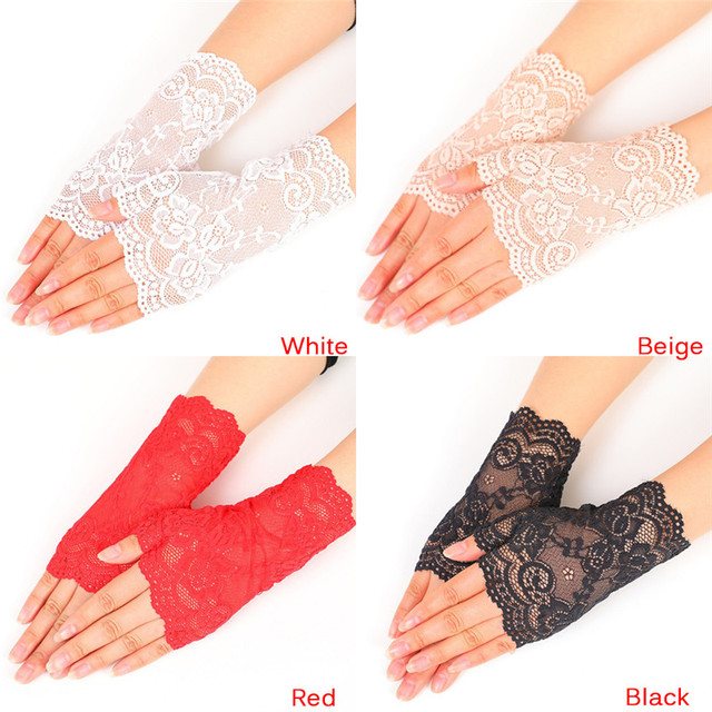 Lady's Fingerless Black Floral Lace Gloves Summer Thin UV-Proof Driving Gloves Gothic Sexy Short Hollow White Red Party Gloves 2