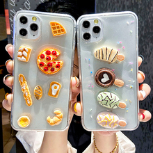 3D Cute Clear Food Pizza Bread Ice Cream Phone Case For