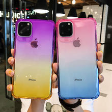 Color Gradient Case For iPhone 11 Pro Max X XR XS 8 Plus 7 6 6S Clear Shockproof Silicone Cover Ultra Thin Soft Phone Accessory(China)